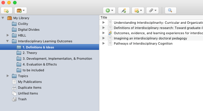 Organize each resource into its appropriate subcollection