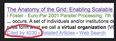"""shows a screen from Google Scholar for a scholarly article. Under the article citation information, the number of times the article has been cited by others is indicated.An example search result in Google Scholar, which lists the Article title (links to article), a brief description, and information about how many people cited the article, related articles, and a web search for the article. The image shows an article titled """"The Anatomy of the Grid: Enabling Scalable..."""" that has been """"Cited by 4030"""""""