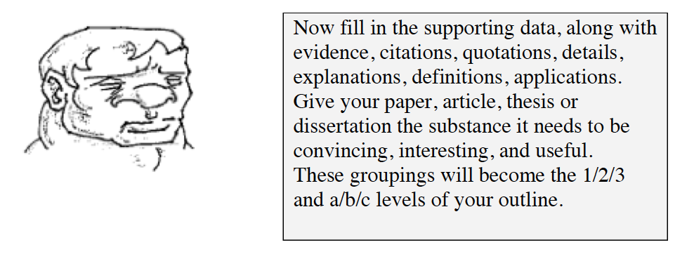 Now fill in the supporting data, along with evidence, citations, quotations, details, explanations, definitions, and applications. Give your paper, article, thesis or dissertation the substance it needs to be convincing, interesting, and useful. These groupings will become the 1, 2, 3 and a, b, c levels of your outline.