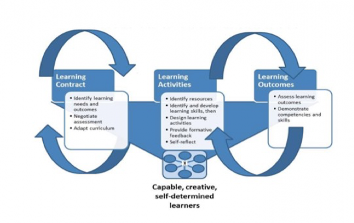 Diagram of heutagogy design for learners. Includes learning contract, learning activities, and learning outcomes.