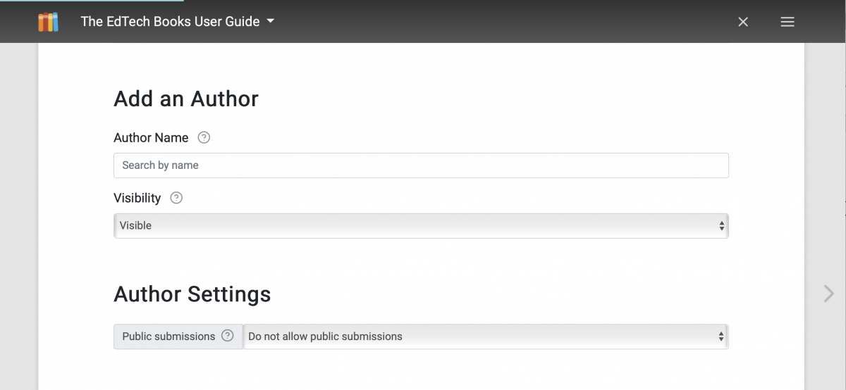 The image shows a screenshot of the add an author feature on EdTech Books.
