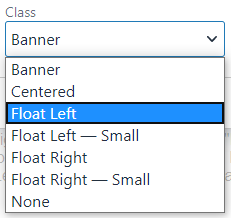 a dropdown of class options