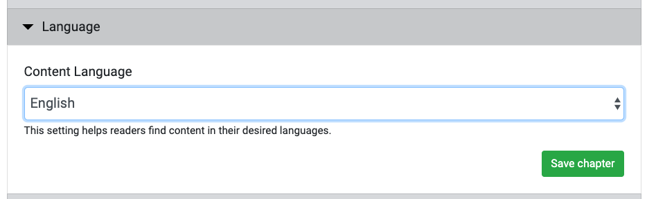 Language selection interface