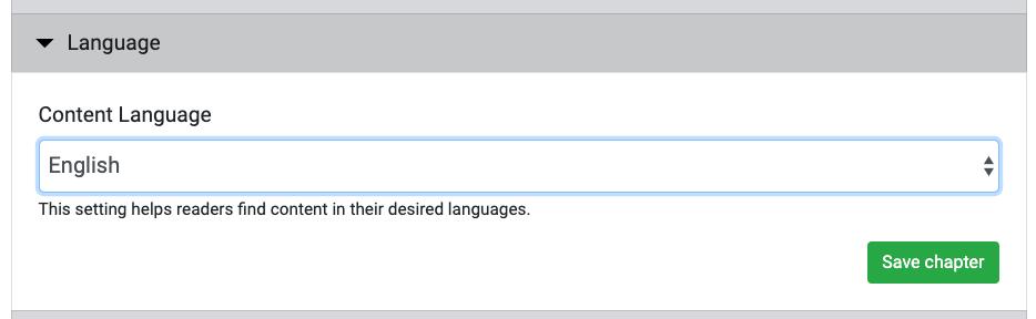 Screenshot of the language selection interface