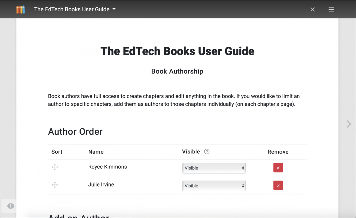 The image shows a screenshot of the author order in a book. It gives the options to sort authors, change their visibility on the book's cover, or remove them.