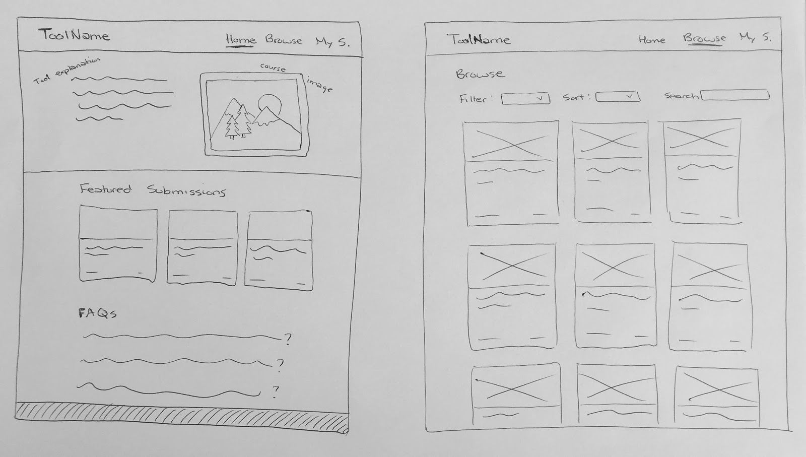 UXD interface sketches