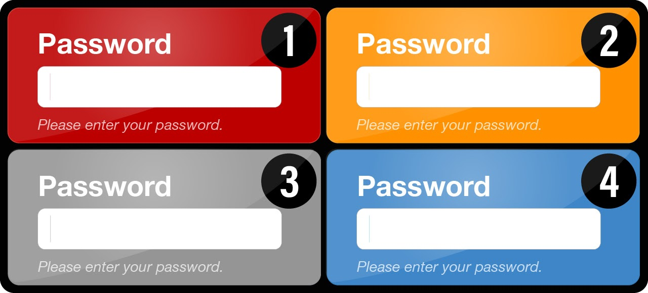 Multi-colored password interfaces