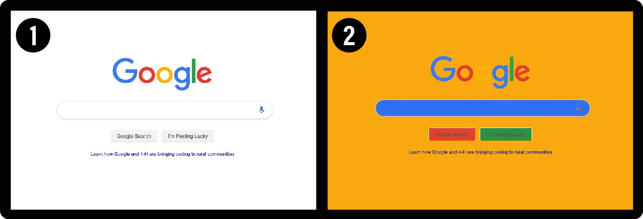 two web pages with different uses of the same colors