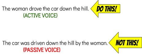 Do this: Use active voice; Don't do this: Use passive voice