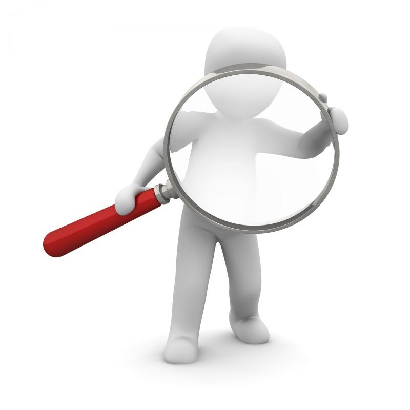 generic 3D figure holding a magnifying glass