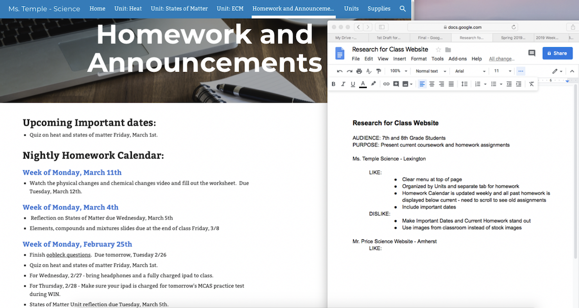 Using GoogleDocs to take notes on Likes & Dislikes of different websites