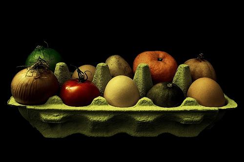 fruits in an egg carton