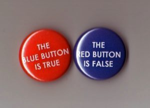 a red and blue button